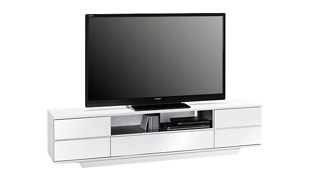 tv bank valby in wei hochglanz mit 2 t ren 1 klappe. Black Bedroom Furniture Sets. Home Design Ideas