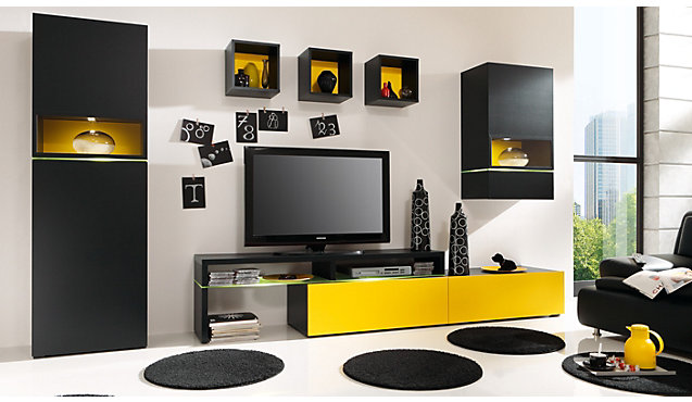 Awesome Wohnzimmer Schwarz Gelb Photos - New Home Design 2018 ...